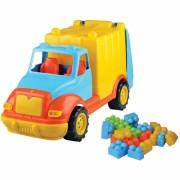 Camion pentru gunoi Ucar Toys, 48 cm, 38 piese constructie