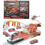 Halo Nation Fire Station Theme Track Play Set Railroad Tracks w/ Battery Operated Train & 7 Fire Rescue Vehicles