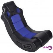 vidaXL Crno-plava stolica za ljuljanje od umjetne kože s audio
