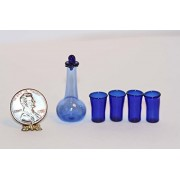 Dollhouse Miniature Cobalt Blue Decanter and 4 Glasses by Royal Miniatures