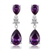 Cercei Borealy Argint 925 Purple Sapphire Flower Drop