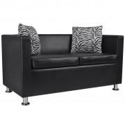 vidaXL Canapea cu 2 locuri, piele artificială, negru