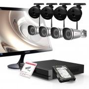 Kit videosorveglianza Foscam Hd 720p con NVR 9CH - 4 cam da esterno - 4 cam da interno e monitor