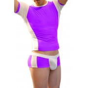 Icker Sea Matching T Shirt & Boxer Brief Set Purple & White COR-16-09