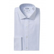 TM LEWIN Grid Check Twill Fitted Dress Shirt LIGHT BLUE