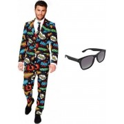Heren kostuum / pak met comic print maat 48 (M) - met gratis zonnebril