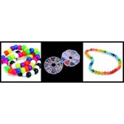 "JellyBeadZ Kidz Necklace and Bracelet Making Kit - Makes 2 Bracelets and 2 Necklaces - Includes Beads, Charms and Clasped Cords in a compact 4"" case"