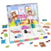 Small Toy Playset, Wooden Wonders Bear Cubs Magnetic Dress-up Kids Toys Playsets