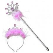 Geen Roze glitter tiara en toverstafje