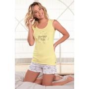 Pijama dama Onirique, scurt galben L