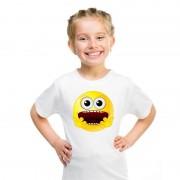 Shoppartners Smiley t-shirt geschrokken wit kinderen