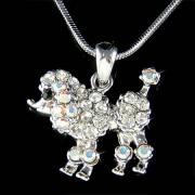 French White Poodle Dog Swarovski Crystal Pet Pendant Necklace