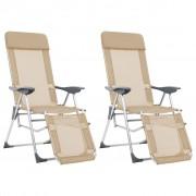 vidaXL Сгъваеми къмпинг столове с подложки, 2 бр, кремави, алуминиеви
