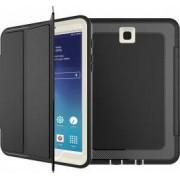 Husa Samsung Galaxy Tab S2 8.0 T710 T719 flip cover activa pliabila cu 3 straturi protective negru