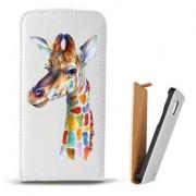 Toc Samsung Galaxy S6 Edge Plus G928 Husa Piele Ecologica Flip Vertical Alba Model Girafa Colorata