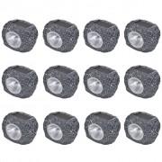 vidaXL Соларни LED спот лампи с форма на камък – 12 бр.