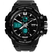 Skmei Black Dual Time Best Designing Stylist Analog With Digital Sport Watch For Men Boys