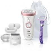 Epilator Silk-epil Braun 9/870 SensoSmart, Wet & Dry (Alb/Roz)