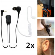 Alecto FRH-10 DUO Headset 2.5mm Plug, 3-polig - Voor gebruik op (PMR-446) portofoons - X2 - Zwart / Wit