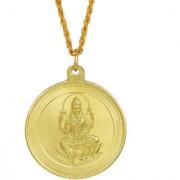 MissMister Gold Plated Lakshmi and Lakshmi Yantra Double Side Coin Chain Necklace Pendant for Men and Women
