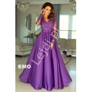 Fioletowa wieczorowa suknia na studniówkę z delikatnym rękawem - Luna