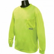 Radians RadWear Men's Non-Rated High Visibility Long Sleeve Safety T-Shirt with Max-Dri - Lime (Green), XL, Model ST21-NPGS