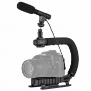 PULUZ U/C Shape Portable Handheld DV Bracket Stabilizer + Video Shotgun Microphone Kit with Cold Shoe Tripod Head for All SLR Cameras and Home DV Camera