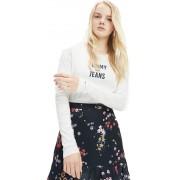 Tommy Jeans T-Shirt Donna Square Logo Long Sleeve, Taglia: S, Per adulto Donna, Bianco, DW0DW07159-YA2