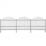 vidaXL Gard pentru grădină cu vârf suliță (1,5-1,75)x6 m Oțel, negru