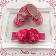 bellejuju Sapatinho de Bebê Customizado com Strass e Pérolas Pink + Faixa de Meia com Flor - Kit Baby