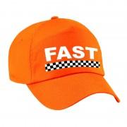 Bellatio Decorations Fast / finish vlag verkleed pet oranje voor volwassenen
