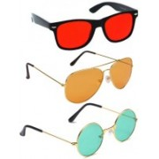 Elligator Aviator, Wayfarer, Round Sunglasses(Red, Orange, Green)