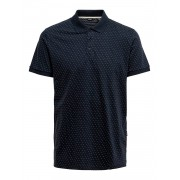 Only and Sons Onskeen Slim Ss Jaquard Polo - blauw - Size: Large