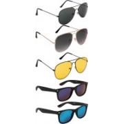 NuVew Aviator, Wayfarer Sunglasses(Green, Grey, Blue, Blue, Violet, Yellow)