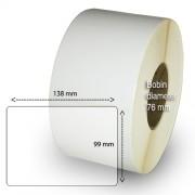 Etiketter på rulle, självhäftande, högblanka för bläck, 99-138 mm, 1000 per rulle