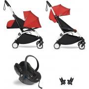 Babyzen YOYO² buggy COMPLEET / FULL SET 0+ en 6+ rood frame wit incl. YOYO² BeSafe autostoel zwart
