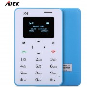 Card Phone AIEK X6 Quad Band Bluetooth 3.0 Celular Azul-EU Plug