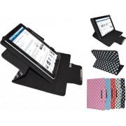 Cherry Mobility Quad Tablet 7 M743 Diamond Class Polkadot Hoes met 360 graden Multi-stand, Roze, merk i12Cover