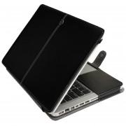 Para MacBook Pro 15,4 Pulgadas Portatil De Caballo Loco Textura Horizontal Flip Funda De Cuero (negro)