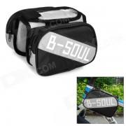 B-alma YA161 Bike Top Oxford Tube + PVC doble bolsa w / Case Celulares bolsa protectora - Negro