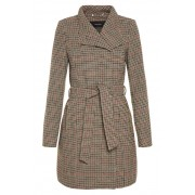 Vero Moda Palton pentru femei Two Dope Check 3/4 Wool Jacket Tobacco Brown Black With Winetasting M