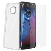 Avizar Funda de Silicona Transparente + Cristal Templado para Motorola Moto G5S