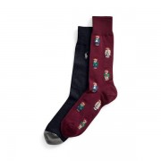 Polo Ralph Lauren Polo Bear Dress Sock 2-Pack - Clas Wine/ Cru Nav/ Fost - Size: One Size