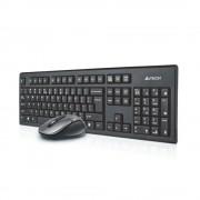 Kit tastatura si mouse A4TECH kit 7100N, fara fir, negru