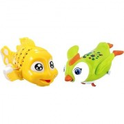 Emob Cute Swimmer Penguin and Fish Shaped Friction Powered Moving Wind Up Chain Toys for kids (Multicolor)