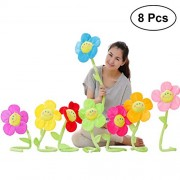 TOYMYTOY 8Pcs Plush Daisy Flower Toy Colorful Soft Stuffed Bendable Stems Flowers Toy with Smiley Happy Faces for Kids Gift