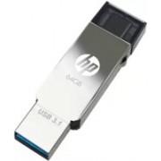 HP Type 'C' OTG 3.1 Metal USB Dual Drive X304m 64 GB OTG Drive(Silver, Black, Type A to Type C)