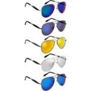 NuVew Aviator Sunglasses(Blue, Blue, Golden, Green, Silver, Blue, Violet)