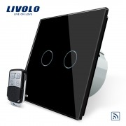 Intrerupator LIVOLO cu touch dublu wireless telecomanda inclusa, negru