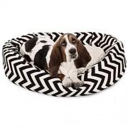 Majestic 32 Inch Black Chevron Sherpa Bagel Dog Bed